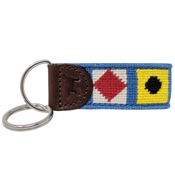 Nautical Maritime Signal Flag Needlepoint Key Fob