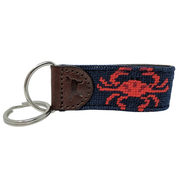Maryland Crab Leather Needlepoint Key Fob