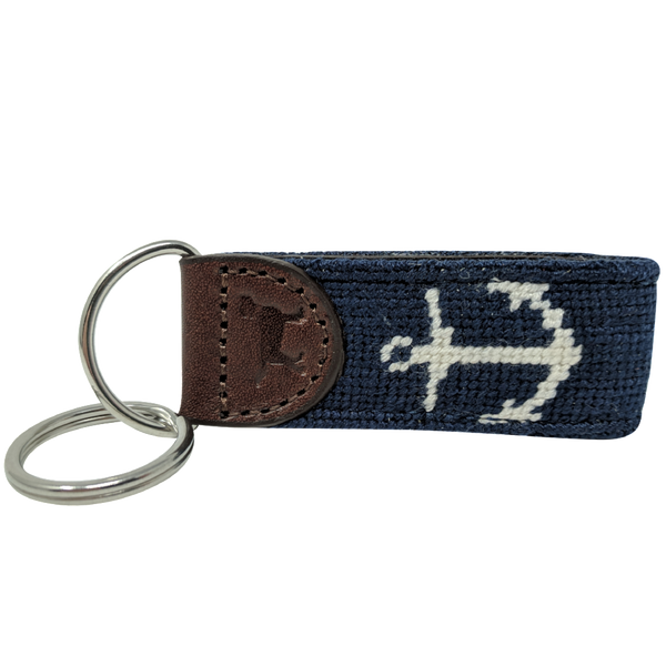 Anchor Nautical Leather Needlepoint Key Fob