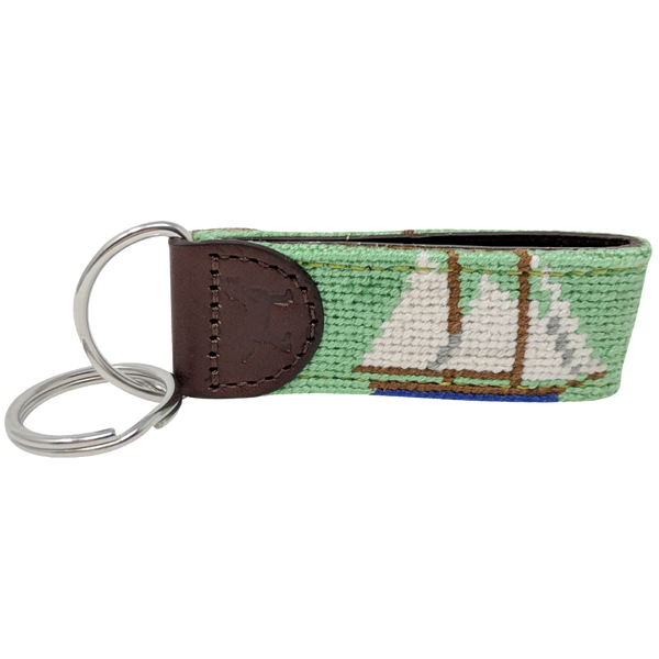 Sailboat Needlepoint Key Fob