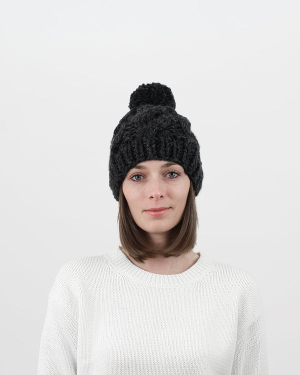 Cable Knit Hat Pattern for Beginners. How to cable knit. Chunky Pom-Pom Hat. Modern Knitting Pattern by Forefolk