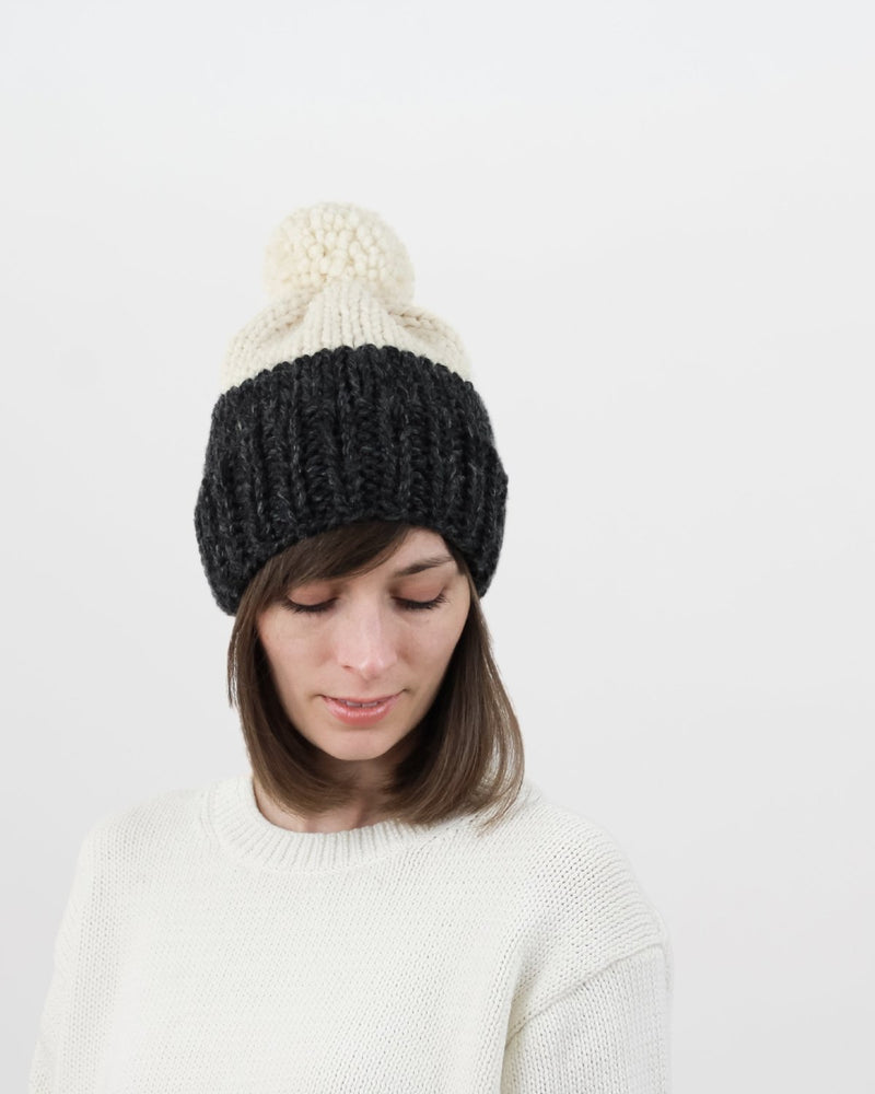 Knitting Pattern. Easy two-tone hat pattern. Chunky pom-pom hat by 08ec670c61d
