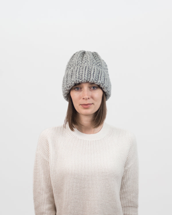 The Cozy Beanie in Grey by Forefolk. Handmade and sustainably sourced knitwear