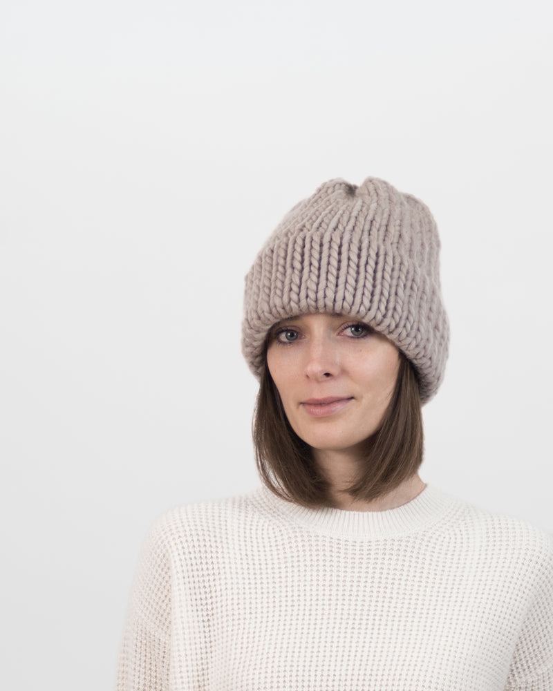The Dubbel Beanie by Forefolk. Handmade and sustainable sourced chunky wool hat.