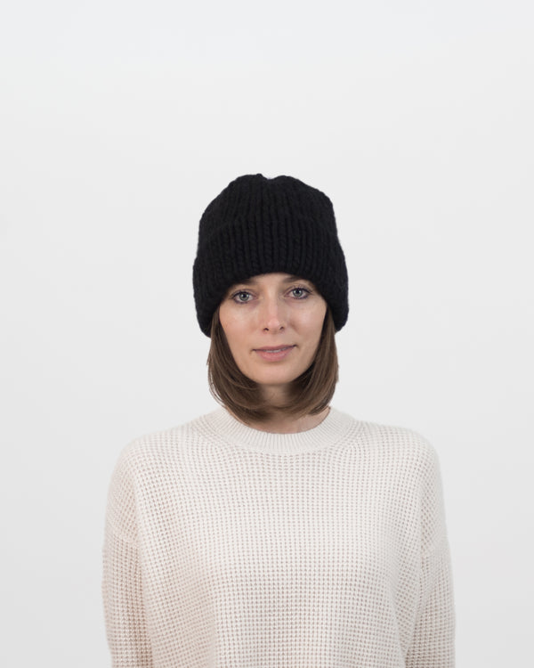 The Dubbel Beanie in Black by Forefolk. Handmade and sustainably sourced chunky knit wool hat