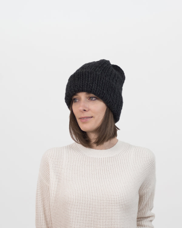The Dubbel Beanie in Charcoal by Forefolk. Handmade and sustainably sourced chunky knit wool hat.