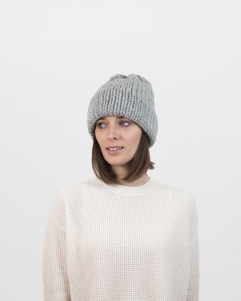 The Dubbel Beanie in Grey by Forefolk. Handmade and sustainably sourced chunky knit wool hat.