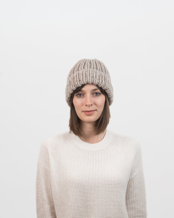 The Hiker's Hat in Beige by Forefolk. Handmade and sustainably sourced wool knit hat. Soft, lightweight, and durable - this hat is ready for adventure.