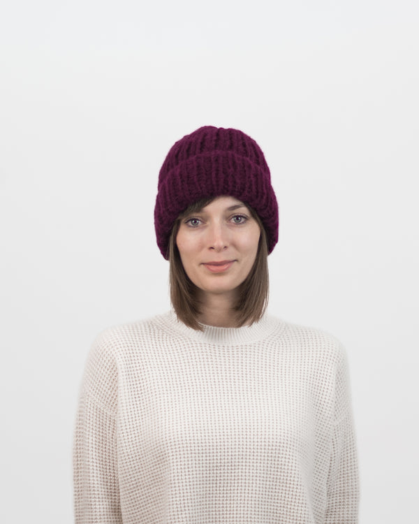 Limited Edition - The Hiker's Hat in Burgundy by Forefolk. Handmade and sustainably sourced wool knit hat. Soft, lightweight, and durable.
