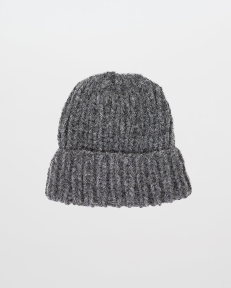The Hiker's Hat in Grey by Forefolk. Handmade and sustainably sourced wool knit hat. Soft, lightweight, and durable.