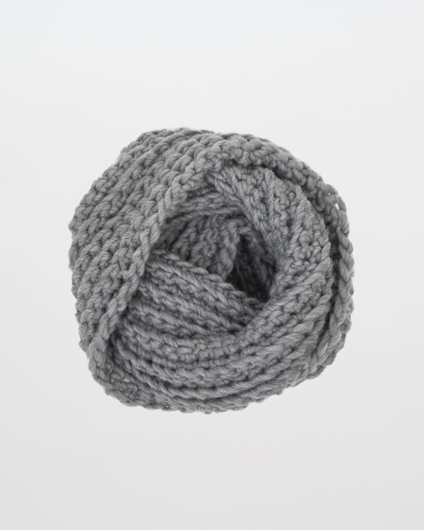 Limited Edition - The Vagabond Infinity Scarf in Heather Grey by Forefolk. Handmade and sustainably sourced knit wool scarf.