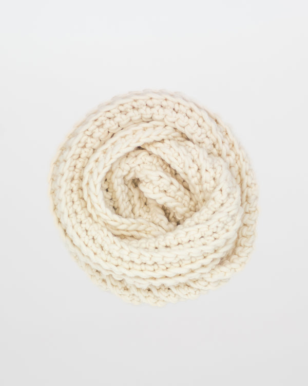 The Vagabond Infinity Scarf in Ivory by Forefolk. Handmade and sustainably sourced wool knit scarf.