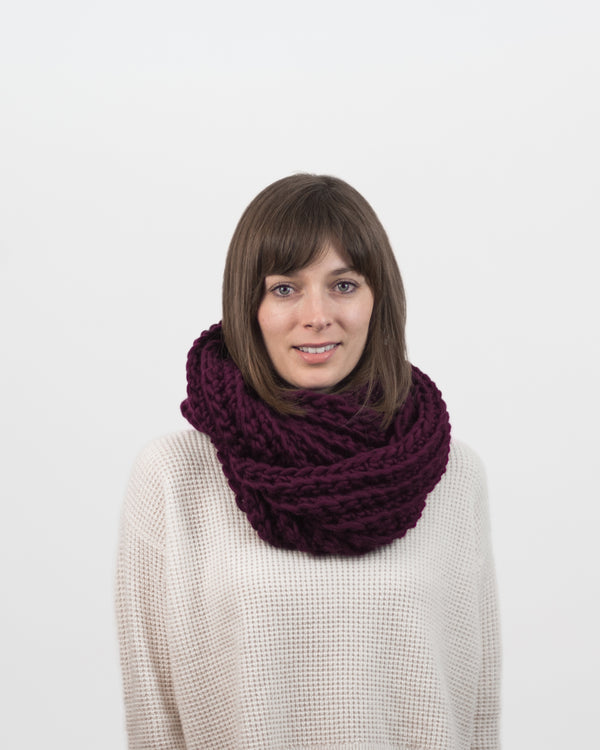 Limited Edition - The Vagabond Infinity Scarf in Burgundy by Forefolk. Handmade and sustainably sourced knit wool scarf.