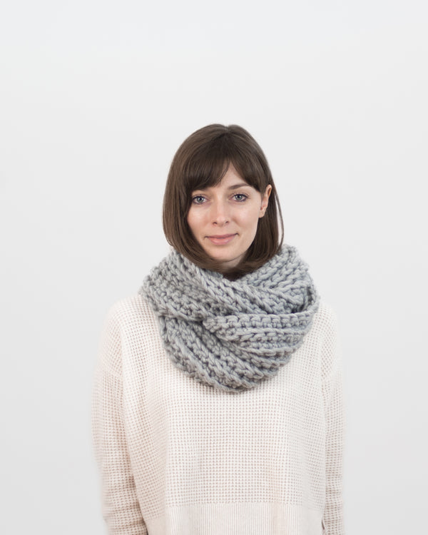 The Vagabond Infinity Scarf in Grey by Forefolk. Handmade and sustainably sourced wool knit scarf.