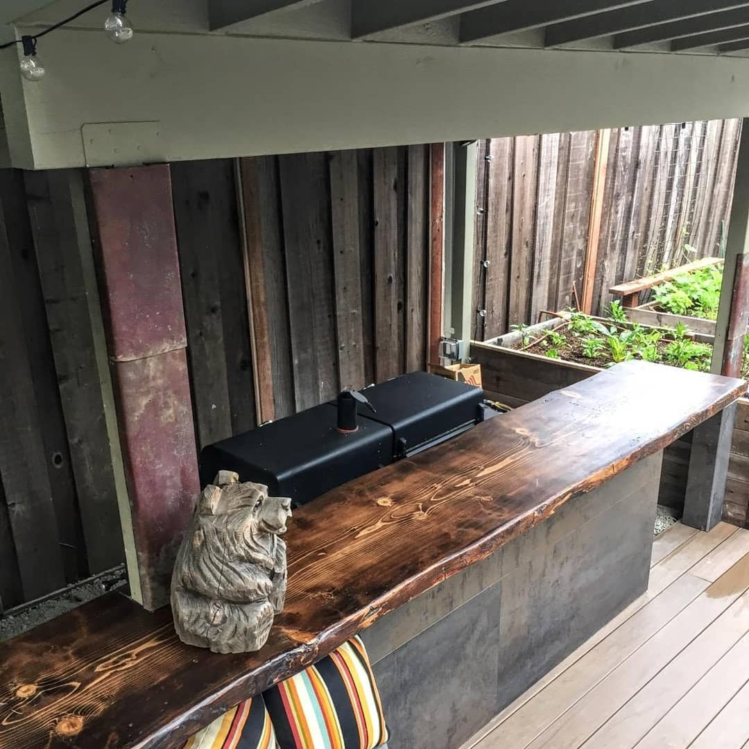 Live Edge Wooden Outdoor Grill Counter