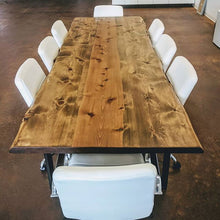 Load image into Gallery viewer, Elegant Live Edge Wooden Conference Table