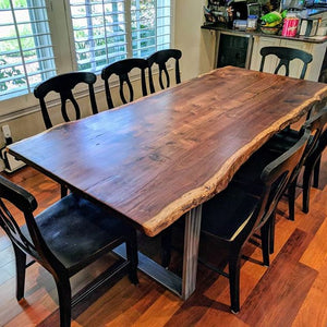Elegant Live Edge Dining Table (Dark Brown)