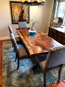 Elegant Live Edge Dining Table (Brown)