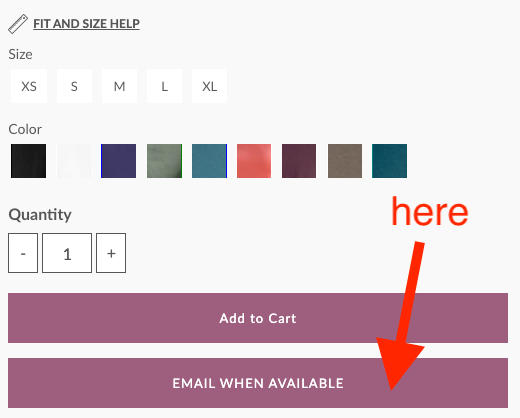 email when available button
