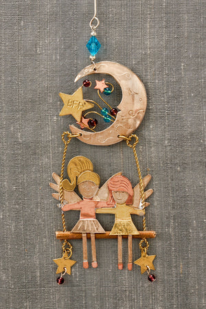 fair trade christmas ornament metal swing bff angels ornament