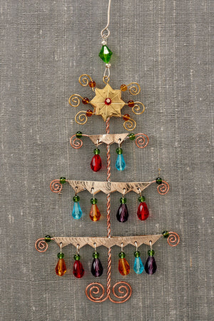 fair trade christmas ornament metal jeweled tree ornament