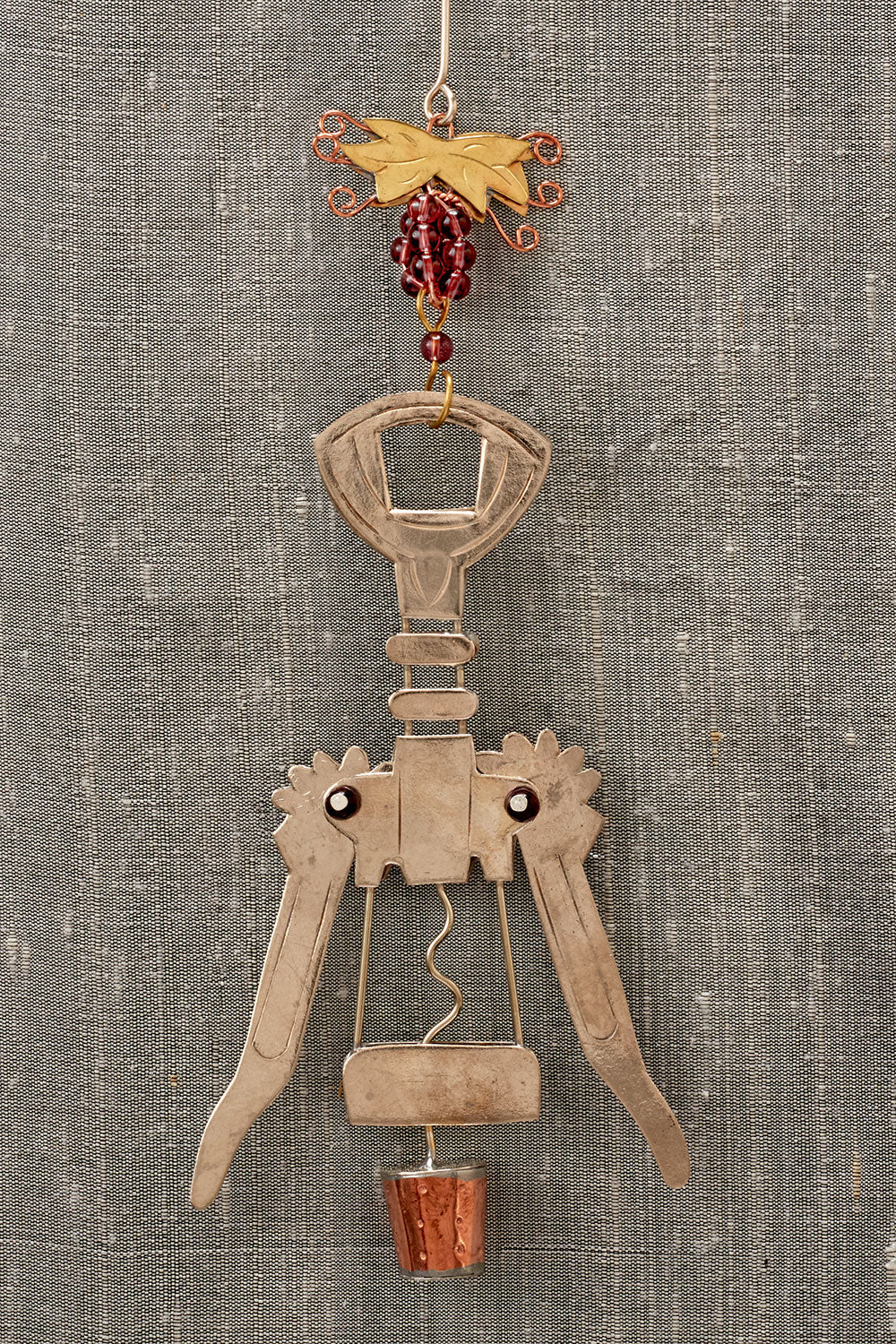 fair trade christmas ornament metal corkscrew ornament