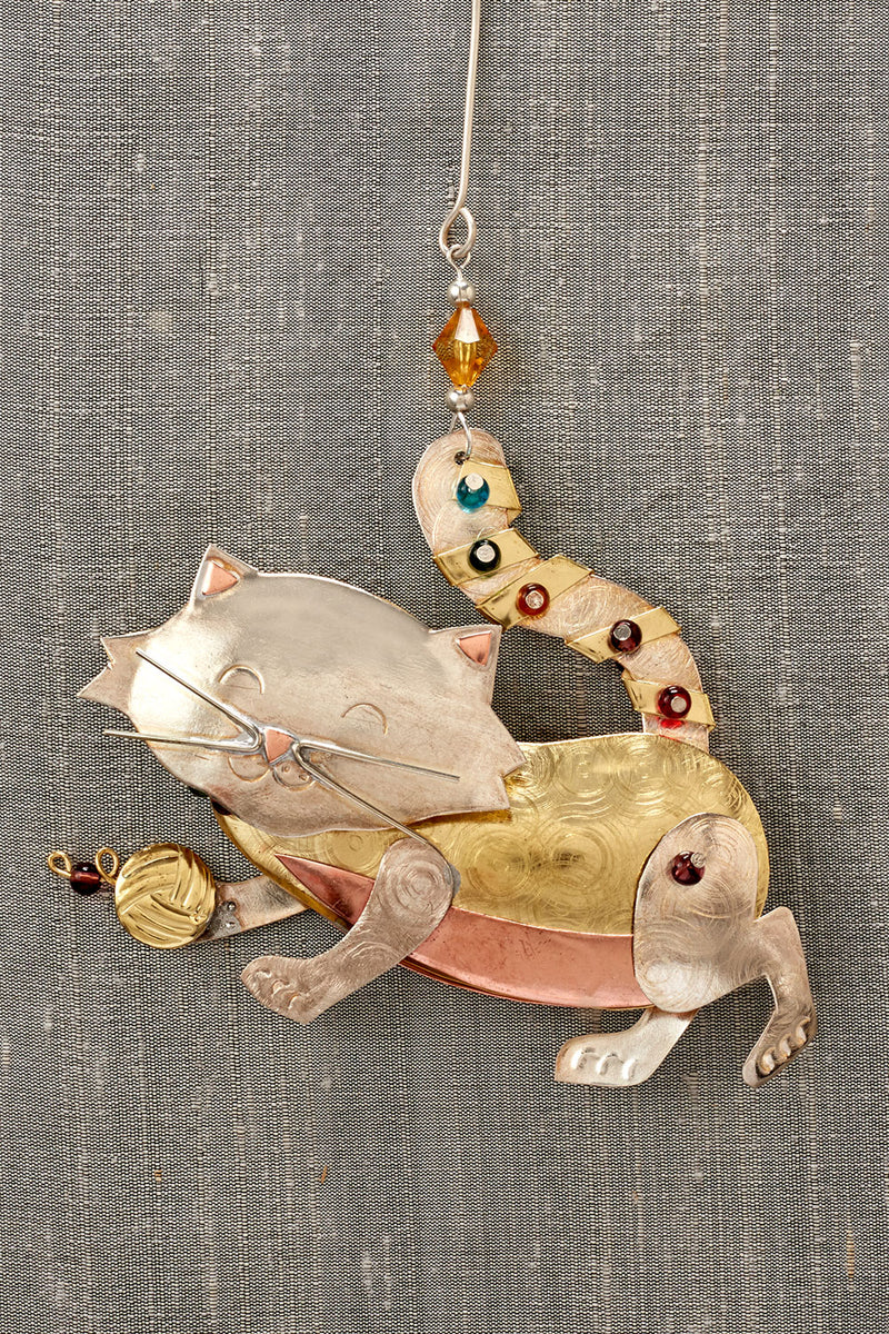 fair trade christmas ornament metal playful cat ornament
