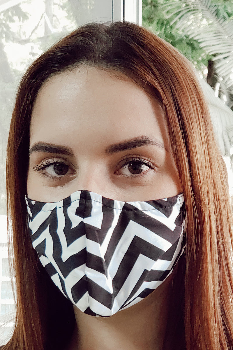 Ethically made recycled black white chevron face mask black white