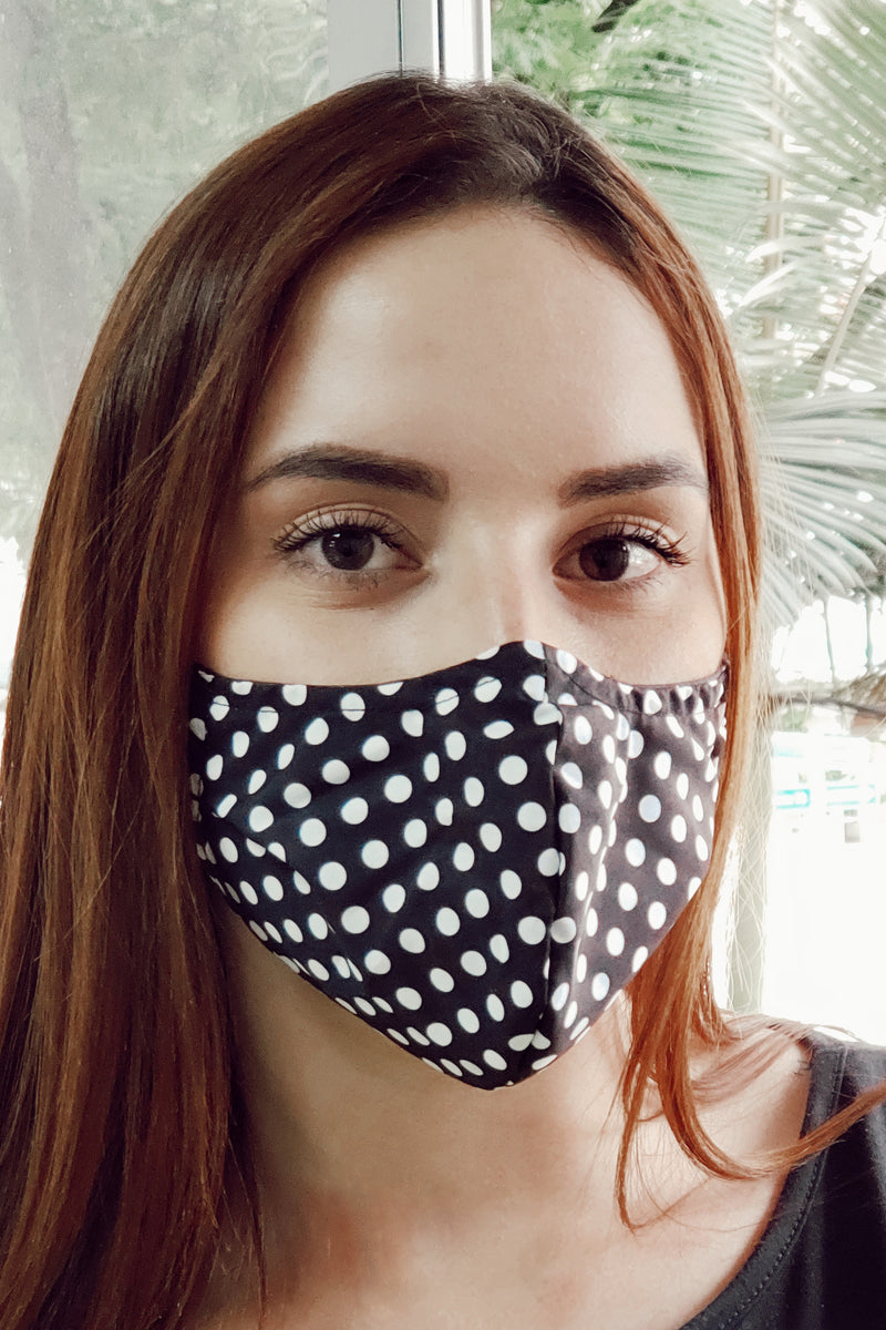 ethically made recycled black and white polka dot face mask - Fair Indigo