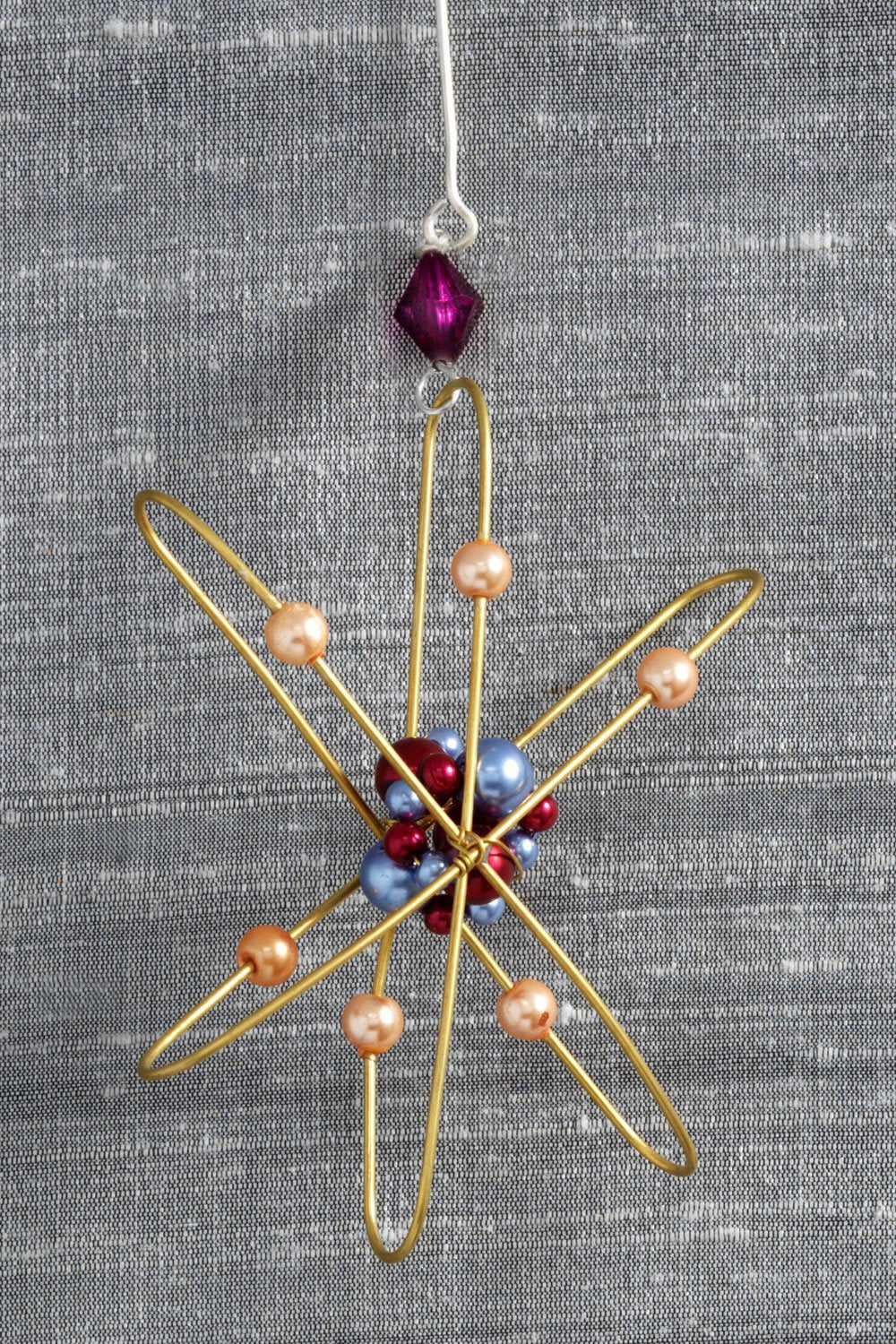 fair trade christmas ornament metal atom ornament