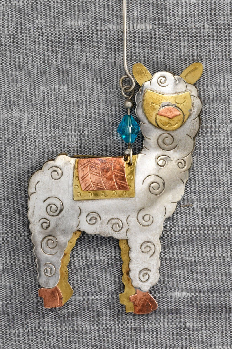fair trade christmas ornament metal alfred alpaca ornament