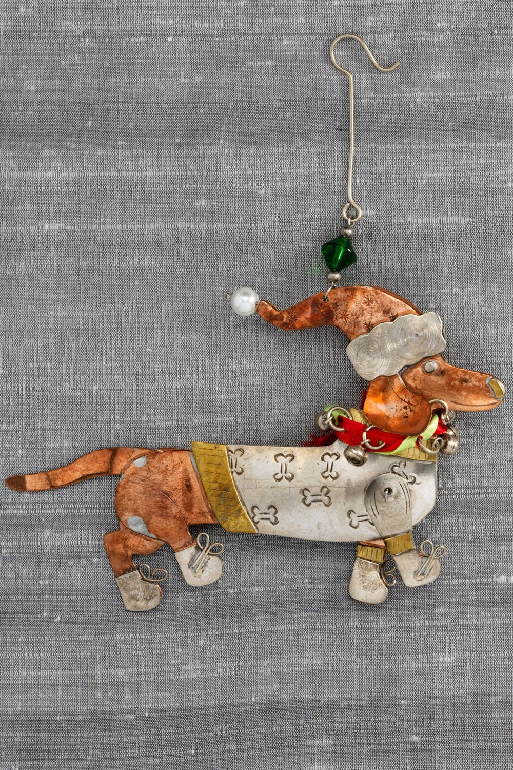 fair trade christmas ornament metal dascher dachshund ornament