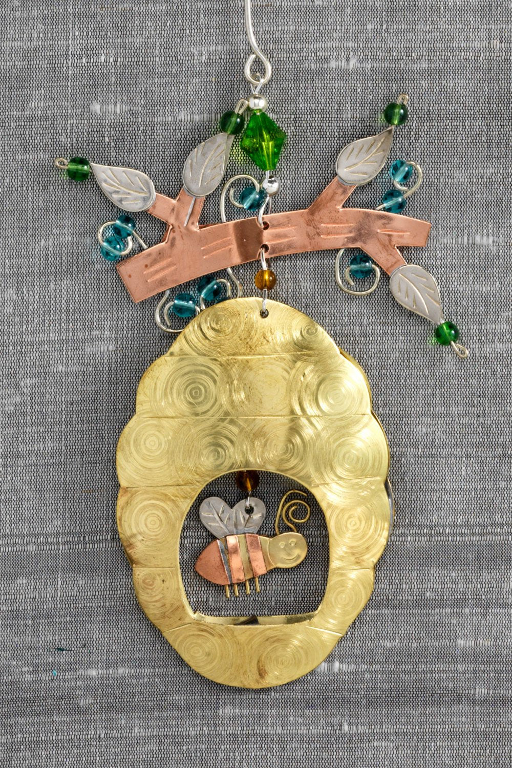 fair trade christmas ornament metal bee hive ornament