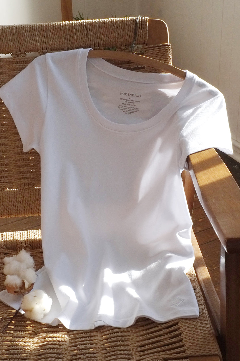 Womens White Organic Cotton T-shirt - Fair Indigo