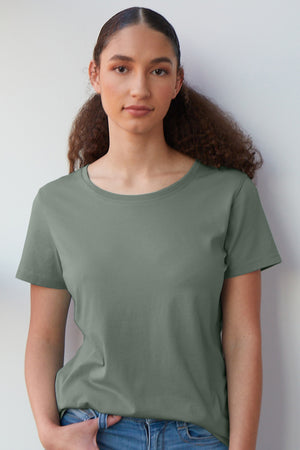Womens Organic Cotton Green Crew Neck T-shirt - Fair Indigo
