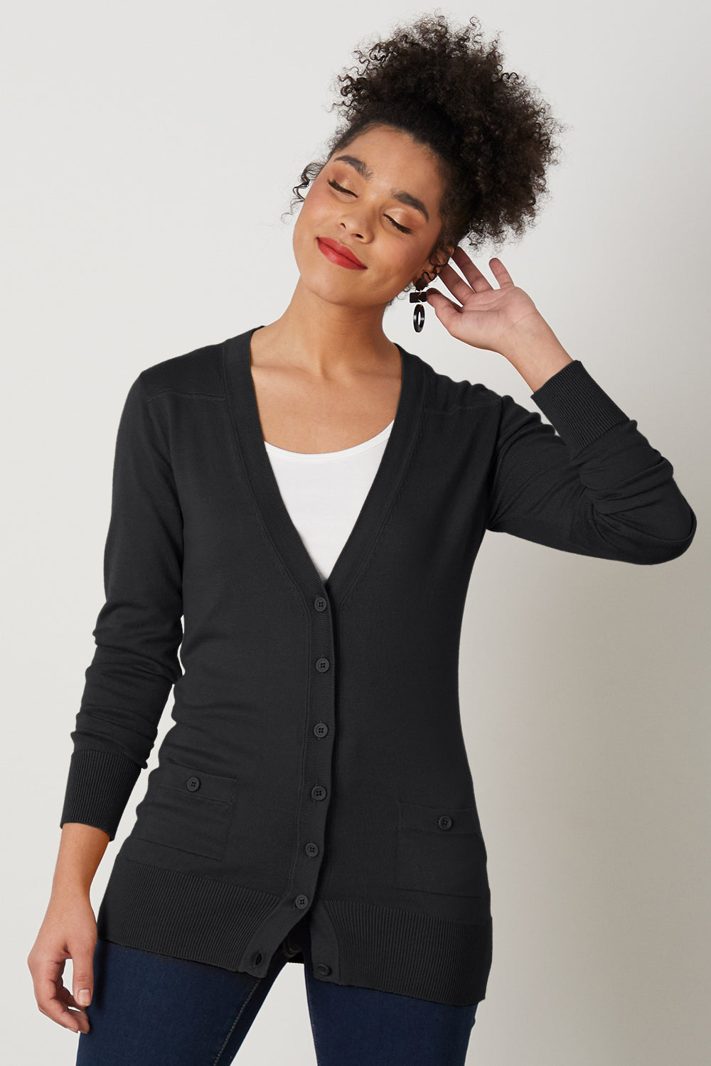 womens Organic Cotton Boyfriend Cardigan - Fair Indigo