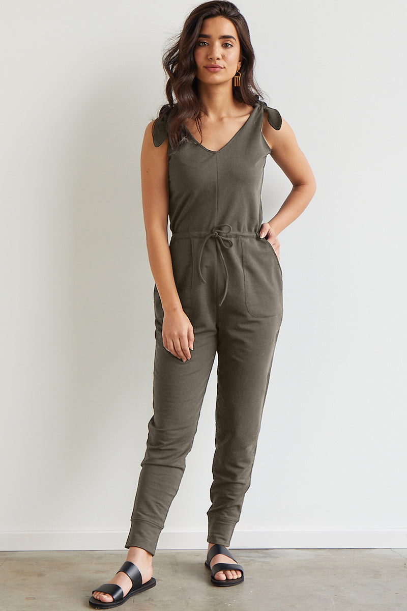 Womens Organic Cotton Knit Jumpsuit Fatigue Olive Green - Fair Indigo
