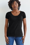 Womens Organic cotton Short Sleeve Sweater Tee Black - Fair Indigo