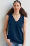 Womens 100% Organic Cotton Tank Top Navy Blue - Fair Indigo