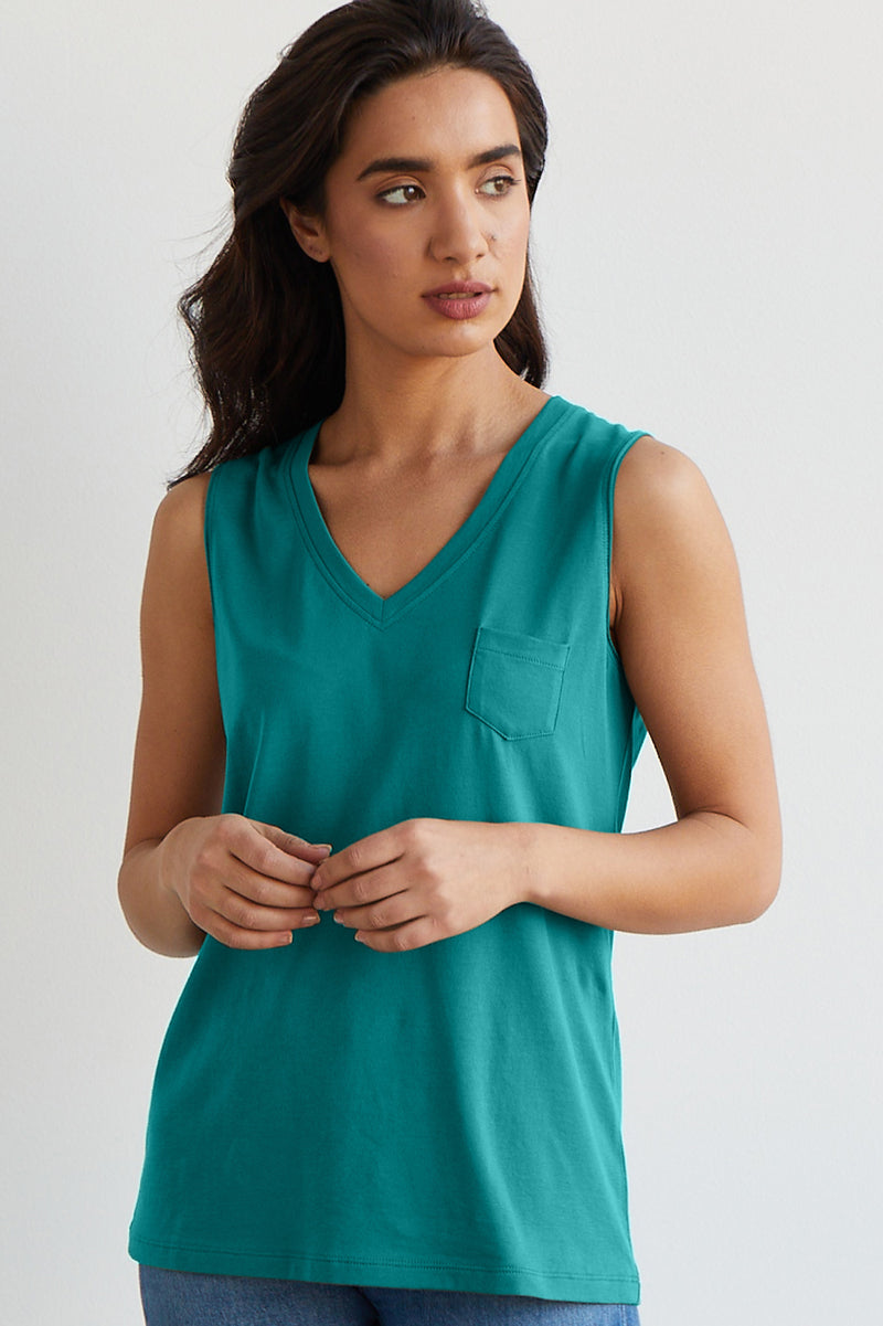 Womens 100% Organic Cotton Tank Top Blue Green - Fair Indigo