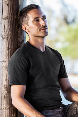 Mens Black Organic Cotton V-neck T-shirt - Fair Indigo