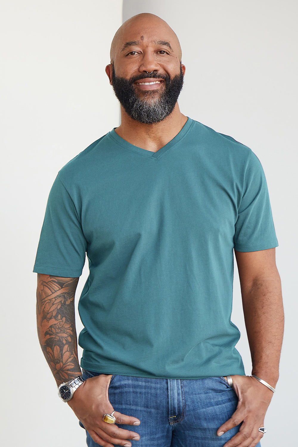 Mens Blue Organic Cotton V-neck T-shirt - Fair Indigo