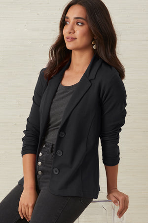 Womens Organic Cotton Knit Blazer - Fair Indigo