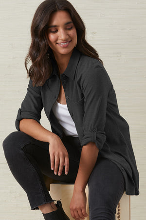 organic button front blouse charcoal