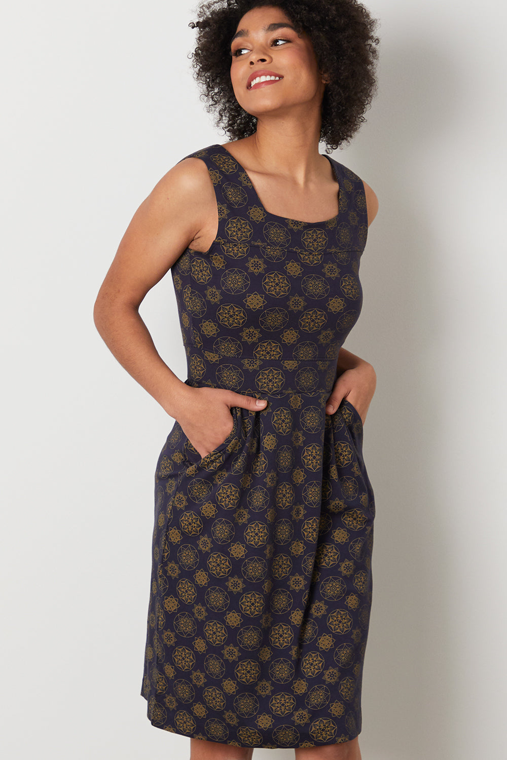 Womens Organic Cotton Sleeveless Dress - Fair Indigo