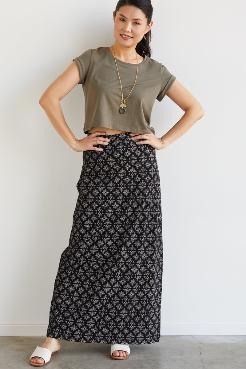 Womens Organic Cotton Maxi Skirt - Fair Indigo