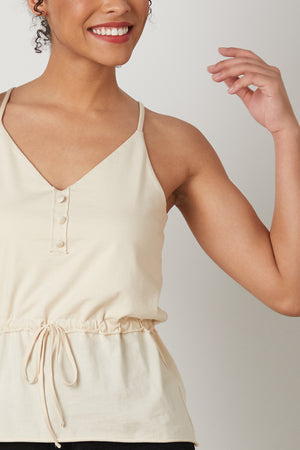 Womens 100% Organic Cotton Peplum Tank Top Fatigue Olive Green - Fair Indigo