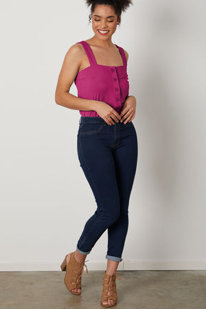 Womens Organic Cotton Button Tank Top - Fair Indigo