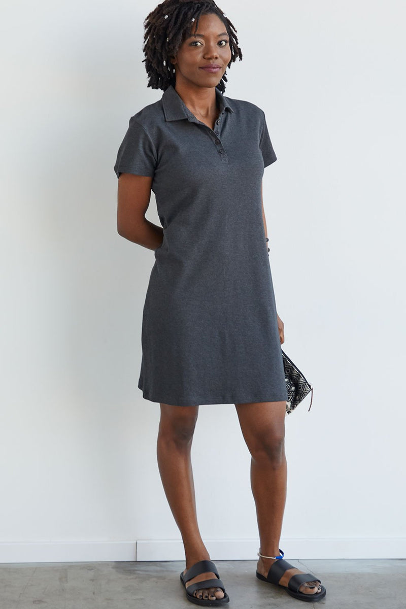 Womens Organic Cotton Polo Dress Grey - Fair Indigo
