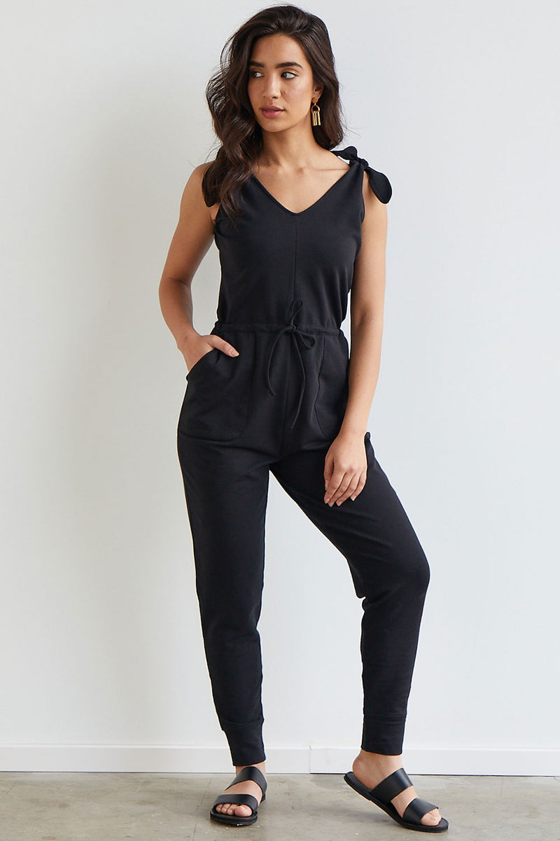 Womens Organic Cotton Knit Jumpsuit Black - Fair Indigo